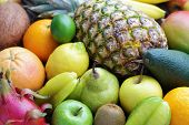 mix of many fresh tropical fruits - fruits and vegetables
