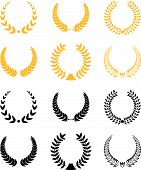 pic of laurel  - Set of gold and black laurel wreaths - JPG