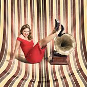 Happy Pin Up Lady. Retro Music And Entertainment