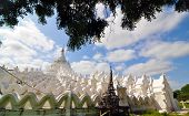 Sagaing, Myanmar - October 9, 2013 : White pagoda of Hsinbyume paya temple
