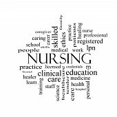 Nursing Word Cloud Concept In Black And White
