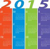 Year 2015 Colorful Calendar