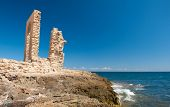 Ruins of ancient Fatimid fortifications from the 10th century by the sea in Mahdia, Tunisia