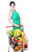 Grocery Cart Full Of Vegetables, Supermarket Trolleys, Isolated On White