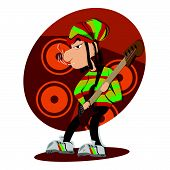 picture of reggae  - Reggae dread lock bass player vector illustration - JPG