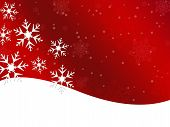 Winter Snowflake Red Background