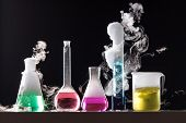 Glass In A Chemical Laboratory Filled With Colored Liquid During The Reaction