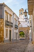 Street view of old downtown Faro - Capital of Algarve - Portugal, Europe