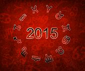 2015 Zodiac Circle With Zodiac Signs On The Red Grunge Background