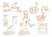 Set Icons Hand Drawn Kitchen