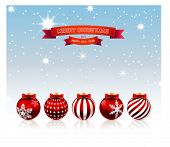 Christmas. Decorative background with balls. Illustration.