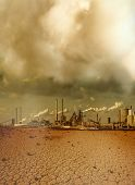 Global pollution caused by industry and resulting desert