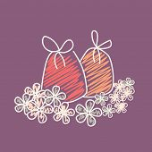 Colorful Jingle bells with beautiful flowers on purple background for Christmas and other occasion celebrations.