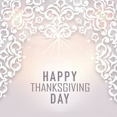 Beautiful floral design decorated poster for Happy Thanksgiving Day celebrations.