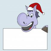 foto of horse wearing santa hat  - Cartoon of a horse in Santa cap holding blank white board for your message for Merry Christmas and other occasion celebrations - JPG