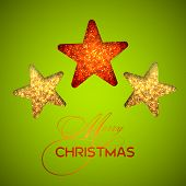 Shiny stars with stylish Merry Christmas text on green background, can be use as flyer, poster or banner.