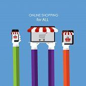 Online Shopping Flat Concept for Web Marketing. Vector Illustrat