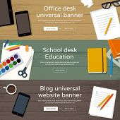 Workplaces top view - Office desk, School table, Bloggers workplace with coffee an phone. Set of website banners - every object is grouped, easy editable, you can make your own compositions.