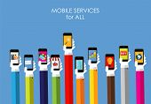 Mobile Services Flat Concept for Web Marketing. Vector