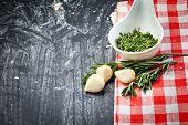 Garlic clove and rosemary