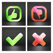 Approved and rejected icons. Vector set.