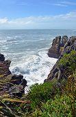 Massive Waves At Punakaiki Rocks Looking Towards Karamea, New Zealand