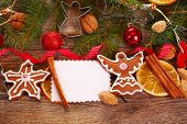 Christmas  Background With Gingerbread Cookies And Decoration