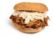 Pulled pork sandwich with coleslaw.