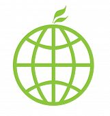 Eco green global icon isolated on a white background.