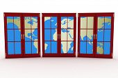 3d closed plastic windows wiht map of world on white background