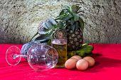 Still Life Art Photography On Banana Pumpkin Glass Beer Egg And Pineapple