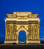 Ganja - FEBRUARY 15, 2014: Triumph Arch  on February 15 in Azerbaijan, Ganja. Triumph Arch is popular city attraction