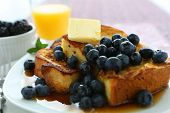 stock photo of french-toast  - French Toast and Blueberries in breakfast setting - JPG