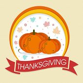 Happy Thanksgiving Day celebrations sticker, tag or label with pumpkins and colourful maple leave and ribbon on beige background.