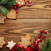 christmas greeting card with christmas ornaments