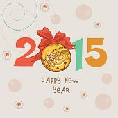 Happy New Year 2015 celebrations with colorful text and ribbon decorated X-mas ball on stylish background, can be used us poster, banner or flyer.