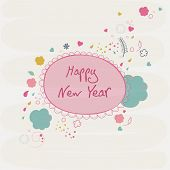 Poster, banner or flyer for Happy New Year on stylish text on abstract background.