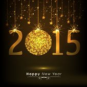 Stylish shiny text 2015 with beautiful X-mas ball and stars decorated brown background for Happy New Year celebrations.