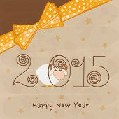 Year of the sheep 2015, New year celebrations greeting card design with stylish text and ribbon on star decorated brown background.