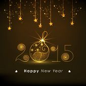 Stylish text with shiny Christmas ball on hanging stars decorated brown background for Happy New Year 2015 celebrations.