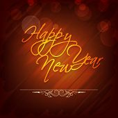 Happy New Year celebration poster, banner or flyer with stylish golden text on shiny background.