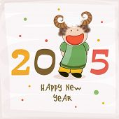 Text design 2015 with cute cartoon of girl wearing sheep horns for Happy New Year celebrations, can be used as poster, banner or flyer.