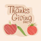 Happy Thanksgiving Day celebrations greeting card design with tomato, chilli and apple on beige background.