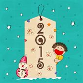 Sticker, tag or label for New Year 2015 with cute little boy and snowman on stars decorated blue background.