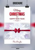 Christmas brochure template. Abstract typographical flyer design with red bow, blurred bokeh lights