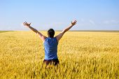 The Guy In An Autumn Field Rejoices To A Crop