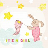 Baby Shower or Arrival Card - with Baby Bunny - in vector