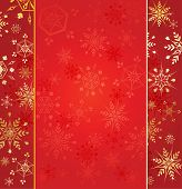 Gold Snowflakes On Red