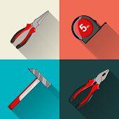 Hammer, pliers, tape-measure. Flat vector illustration.