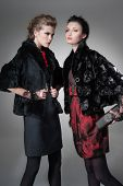high Young fashion two girl wearing elegant black clothes